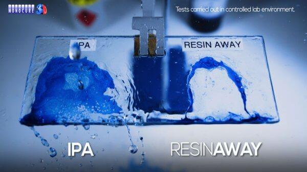 Comparación Resinaway Monocure vs Alcohol isopropílico resina