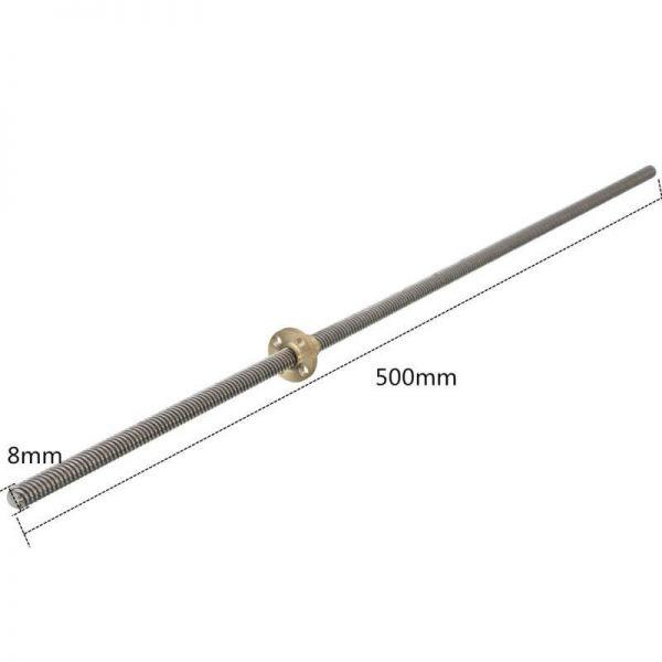varilla roscada acme 8mm 50cm largo husillo trapezoidal 3d