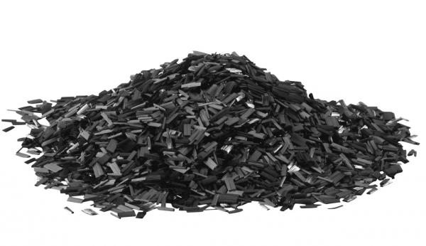 Trozos de fibra de carbono